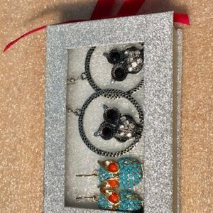 Stocking stuffers - 2 Sets Owl Earrings